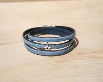 Women's leather bracelet 5 mm - 3 rounds / star - vintage blue - magnetic clasp