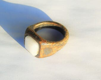 Oak ring shining black with white stone Germany