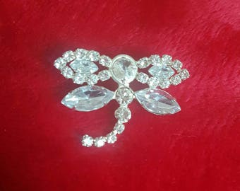 Vintage Crystal Diamantè Dragonfly Brooch Jewellery Collectable