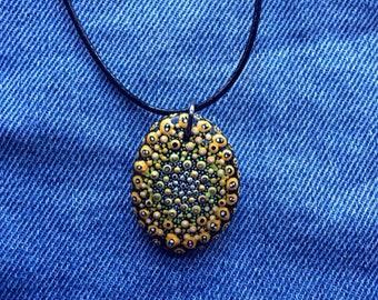 Yellow mandala necklace