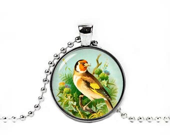 Goldfinch Pendant Goldfinch Necklace with a ball chain Goldfinch Jewelry Bird Necklace Bird Pendant