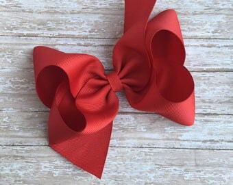 """Red Boutique hair bow, hair bows, solid color hair bows, large hair bows, summer hair bows, spring hair bows, boutique bows, 6"""" bow"""