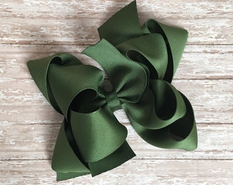 Double stacked boutique hair bows, double layer hair bows, olive double stacked hair bows, girls hair bows, 5 inch hair bows, olive hair bow