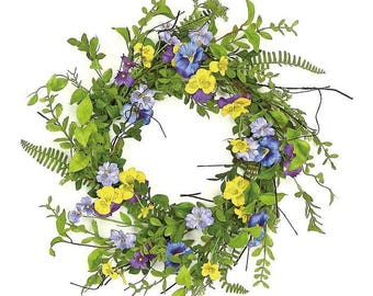 ESE Pansy & Wild Blossom Wreath, 22""
