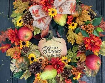 Fall Wreath, Autumn Wreath, Thanksgiving Wreath, Front Door Wreath