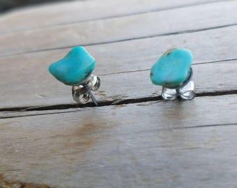 Raw Turquoise gemstone surgical steel stud earrings - Dark Horse