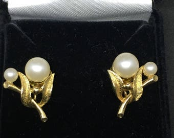 Vintage 1940 Art Deco Gold-Tone and Fauc Pearl Earrings - converted from screw-back to pierced