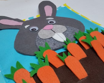 Easter Bunny Sensory Quiet Book Page Montessori Activity Page