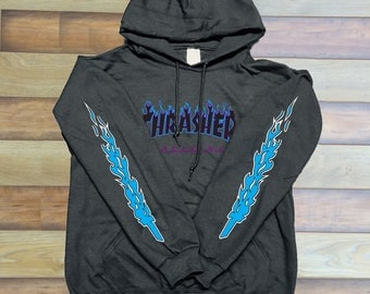 Thrasher Logo Black Blue Sleeves Unisex hoodie front only Graphic hoodie 8