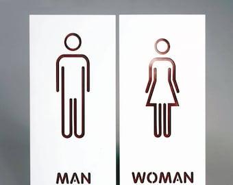 Restroom Sign Bathroom Sign Modern Adhesive Backed Men U0026 Women Unisex  19cmx14CM