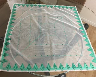 Vintage/ Handmade/ Green/ Embroidered Tulle/Netting Fabric Table Cover Decoration/Table Runner