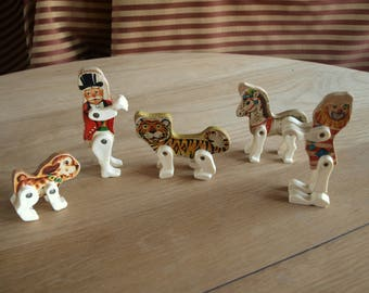 5 Fisher Price vintage circus animals and Figures Dog / Puppy, Pony / Horse, Tiger, Clown, and Ring Leader Lithograph on wood no. 902