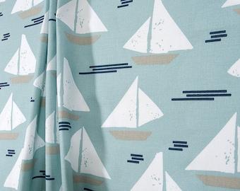 Spa Aqua Blue Curtains Nautical Decor Nursery Sailboat Baby Boy Curtain Panels Window Treatments Coastal Vintage Decor