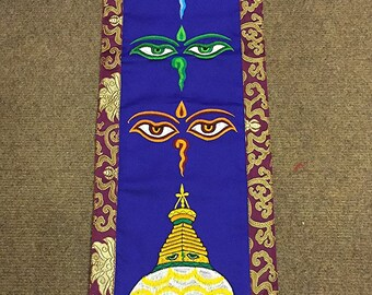 Tibetan Buddhist Buddha eyes and stupa silk embroidered wall hanging / wisdom eyes banner