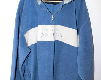 PERRY ELLIS Vintage half zip crewneck zip front color block blue gray embroidered XXL
