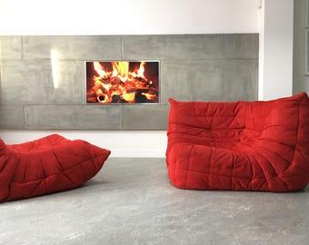 Genuine Red Design Ligne Roset corner Togo sofa chaise longue