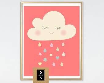 digital, printable, nursery, girl, girls, wall art, decor, cloud rain rainbow, kawaii, cloud, art print, baby, art