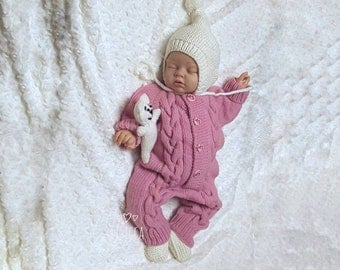Hand knitted pink romper Knitted baby clothes Knitted baby romper Baby knitted clothes Baby girl romper Knitted Baby girl coming home outfit