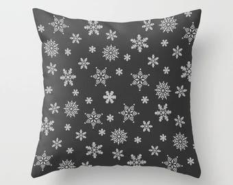 Charcoal Pillow, Pillowcase, Throw Pillow Cover, Winter Pillow, Snowflake Pillow, Dark Gray, Dark Grey, Xmas Pillow, Winter Home Decor, Cute