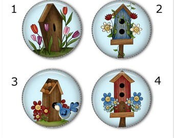 Birdhouse magnets or pins - Create your own set!   Birdhouses magnets pins buttons, refrigerator magnets, fridge magnets, office magnets