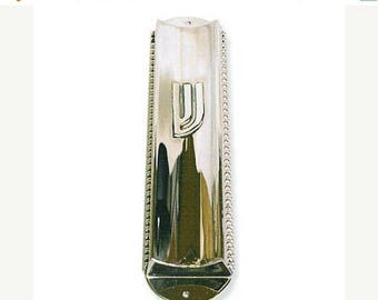 Sterling Silver Concave Mezuzah Case  with Pearls .Hand made in Israel