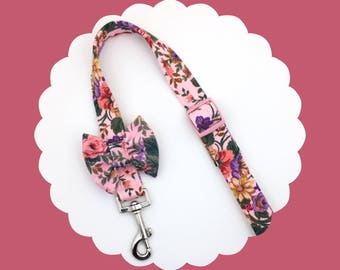 Rose Pink Floral w/ Bow or Bare Dog & Puppy Leash