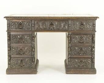 B705 Antique Scottish Victorian Heavily Carved Oak Desk, Double Pedestal Desk