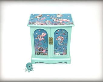 Mermaid Jewelry Box, Little Girls Jewelry Box, Hand Painted Jewelry Armoire, Gift for Girl, Aqua Robins Egg Blue, Sea Creatures, Unique OOAK