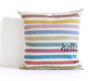 Hello - Striped Pillow Cover, Throw Pillow, Decorative Pillow Cushion, Pillow Covers, Cushion Covers,Pillow Cover