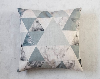 Blue and Grey Geometric Pillow Cover, Triangle Pillow Cover, Grey Throw Pillow, Decorative Pillow Cover, Cushion Cover, Marble Texture