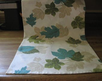 Homemade TEACLOTH w/4 Matching NAPKINS! VINTAGE Fabric, Leaves Pattern!