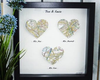 Paper Anniversary gift One Year Anniversary present 1st year anniversary We met We married we live, we engaged we married we live Map Print