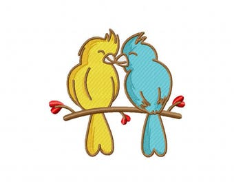 Valentine heart love birds lovebirds machine embroidery design