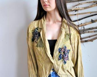 Biege summer womens boho blouse 1990s 1980s vintage flowers embroidery shirt