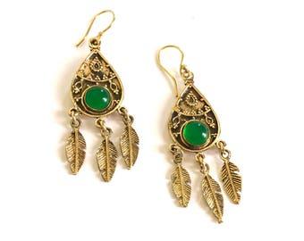 Brass drop earrings, tribal feather earrings, Gypsy earrings, boho earrings,  gold earrings, Ethnic Jewelry, Indian jewellery, gift for her