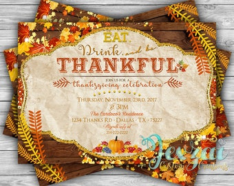 Thanksgiving Invitation | Thanksgiving Dinner Invitation | Fall Invitation | Autumn Invitation | Thanksgiving Party Invitation | Printable