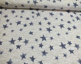 Hilco sweat rock star star ecrue mottled blue 0, fabric by the metre roughened 50 m