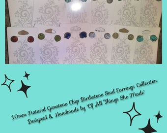 The Birthstone Collection Earthly Designed and Uniquely Crafted Stainless Steel Stud Earrings Choose your Birth Month