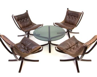 Sigurd Ressell for Vatne Mobler Falcon chairs and table set. Norway
