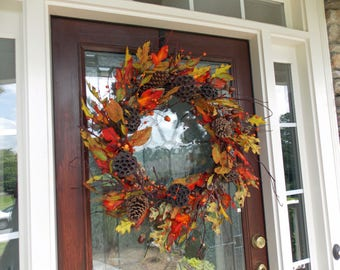 XXL Fall Wreaths for Front Door-Fall Wreath-Autumn Wreath-Thanksgiving Wreath-Fall Door Decor-Fall Door Wreaths-Front Door Wreaths
