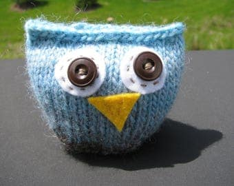 Whimsical Knit Owl, Stuffed Animal, Cool Blue