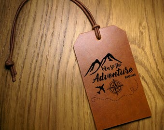 Leather Luggage Tag - And So The Adventure Begins - Travel Quote Graduation Present , Wedding Favor Gifts, Genuine Leather, Baggage ID Tags