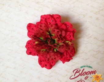 Pin-up hair flower - MOLLY - crystalled red peony flower clip by Bloomorama - tiki retro 40's 50's exotic