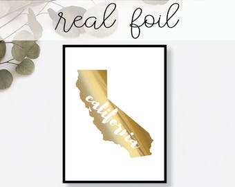 California State Print // Real Gold Foil // Minimal // Gold Foil Print // Decor // Modern Office Print // Typography // Fashion Print