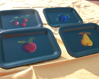 Vintage Nashco Products Company of NYC Black Fruit Snack , Hand Painted Trays