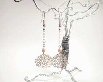 Matte Silver Chrysanthemum Earring - Pale Pink Faceted Glass Beads