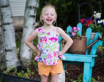 CUSTOM Girl's tunic top and Petal shorts set, Summer top, Halter top, Petal shorts, Summer Outfit