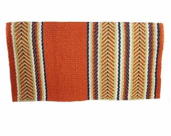 Unique Hand Loomed Wool western Trail Barrel Cutting Rodeo Show Horse Blanket Rug Pad 34 x 34 Handmade,