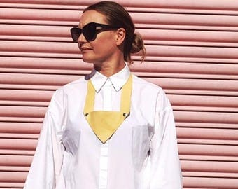 Yellow Soft Leather Triangle Necklace, Simple Geometric Design Necklace