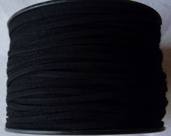 Black Faux Suede Leather Cord, Faux Suede Cord, 1 Yard 3mm Black Flat Cord, Lace Bracelet Cord  Lace String Rope Flat Thread for Jewelry